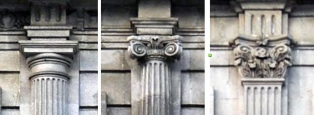 Detalle dos capiteis: dórico no 1º andar, xónico no 2º e corintio no 3º.