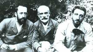 Francisco Giner de los Ríos entre Ricardo Rubio e Manuel Bartolomé Cossío. 1892